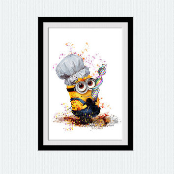Despicable me 2 poster Minion watercolor print Despicable me colorful print Home decoration Wall hanging art Kids room decor Gift art  W227