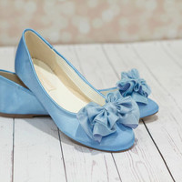 Something Blue  Shoes - Shoes - Wedding Shoes -  Blue Wedding Shoes - Blue Flats - Blue Wedding Flats - Blue Wedding Shoes - Ballet Parisxox