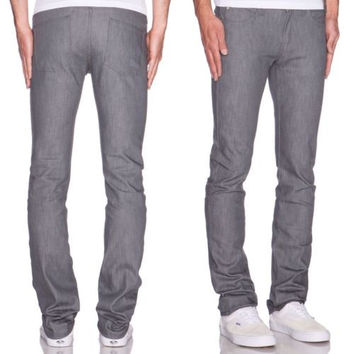 New Mens NAKED & FAMOUS SKINNY Guy Jeans Size 31 x 36 Grey✨ RT $140 ✨ M44025