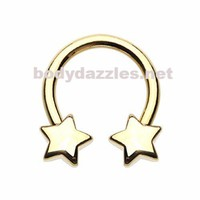 Golden Star Horseshoe Circular Barbell Cartilage Tragus Nipple Ring Nipple Bar 16ga 14ga