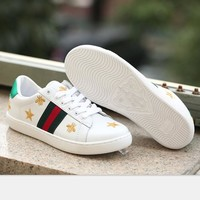 GUCCI Woman Fashion Stars Embroidery Flats Shoes Sneakers Sport Shoes Bee H-MDTY-SHINI