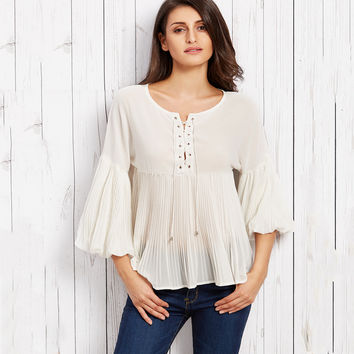 Off-white Chiffon Blouse Women Casual Lace Up Pleated Flare Sleeve Peplum Patchwork Loose Ladies Tops Autumn Shirts Blouses S-XL