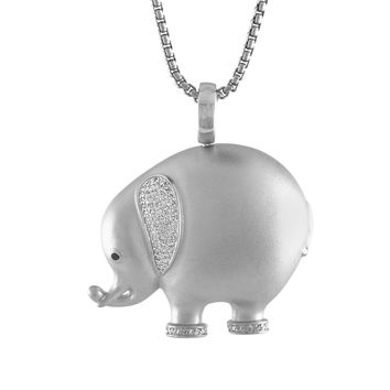 JewelMore 1/3cttw Pave Diamond Elephant Pendant Necklace in Sterling Silver. 18""