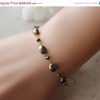 HOLIDAY SALE Pyrite Stone wrapped Bracelet, Grey Gold Gemstone, Wire Wrapped , Gold Vermeil, Beaded Bracelet, Fool's Gold