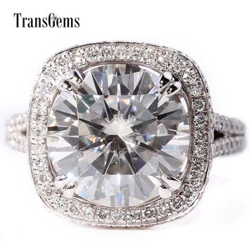 TransGems 5 Carat Lab Grown Moissanite Diamond Wedding Engagement Ring with Lab Diamond Accents Solid 14K White Gold for Women