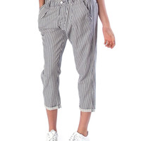 Key Players Pinstripe Trousers - White/Navy