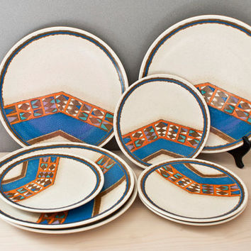 Vintage Mikasa Indian Feast Teepee Dinnerware Set, Geometric Modern Design, 8 Pieces, Dinner Plates, Salad Plates
