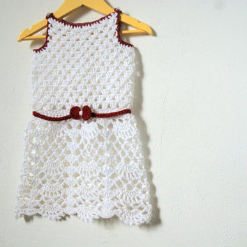White Toddler girl dress crochet / summer cotton dress / baby girl crochet dress natural white / infant baby girl outfit