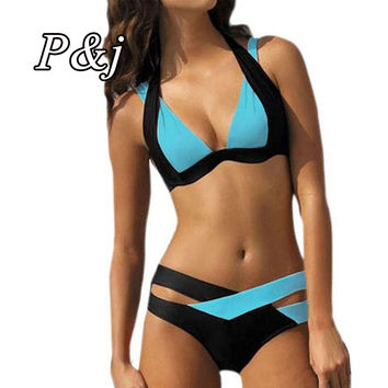 P&J 2017 New Arrival mix color  hook sexy Bikini Women Two Pieces  Tied Brazilian Padded