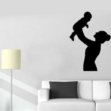Vinyl Wall Decal Sticker Mother Baby Cute Decor for Nursery Children Kids Room (g031)