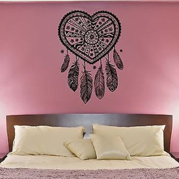 Wall Decal Love Catcher Heart Patterns Plumage Bedroom Vinyl Stickers (ed112)