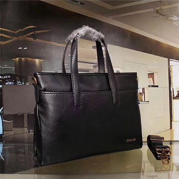 PRADA MEN'S LEATHER BRIEFCASE BAG