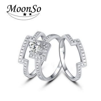 925 Sterling Silver rings for women jewelry CZ Diamond Certified 100% genuine MR1431 anillos anel aneis