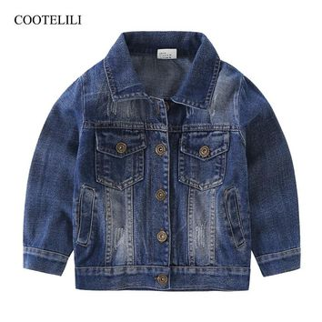 COOTELILI 80-130cm 2018 Spring Boys Jeans Jacket Dark Blue Children Windbreaker girls Jacket Kids Outerwear Children Clothing