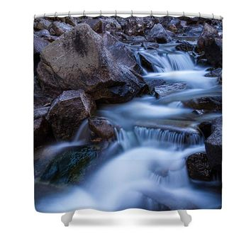 Water Falling On Boulder Creek Shower Curtain