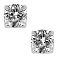 Clear Diamond Cubic Zirconia CZ Round Cut Sterling Silver Magnetic Men Stud Earrings
