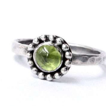 Peridot ring, sterling silver, stacking ring, August birthstone ring, green ring, August birthday, stack ring, handmade, gemstone, stackable