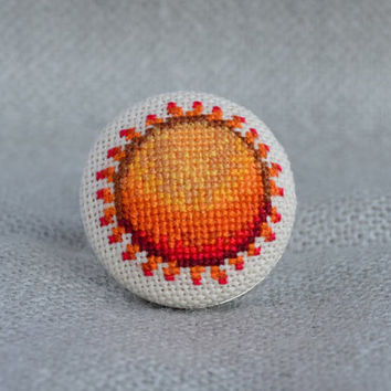 Embroidered sun Cross stitch ring Embroidered jewelry Unique sun Ring sun Sun jewelry Round ring Embroidered ring Tangerine sun Orange ring