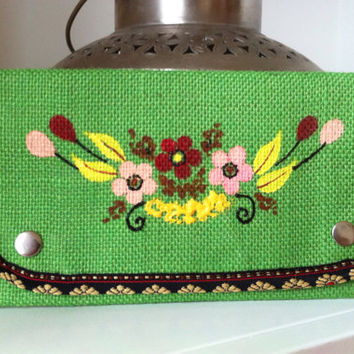 Burlap Clutch Jute Purse, Hand Painted Purse Green Clutch, Small Wallet Fold over Clutch Floral Purse,Credit Card Case, Bridesmaid Purse