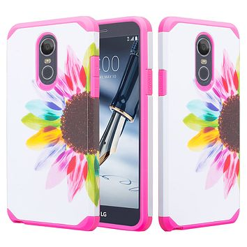 LG Stylo 4, Q Stylus Case, Slim Hybrid Dual Layer [Shock Resistant] Case Cover for LG Stylo 4 - Vivid Sunflower