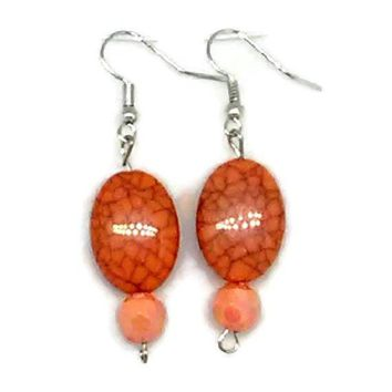 Orange Marbled Oval with Faceted Round Beaded Earrings