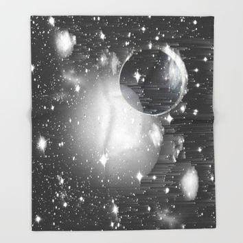 Space Pixels Throw Blanket by Ducky B