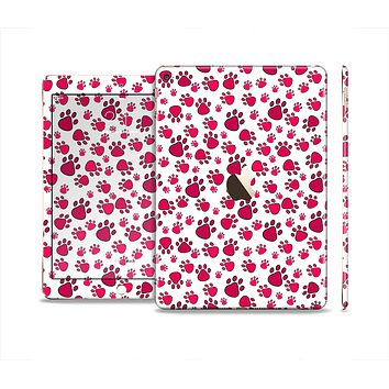 The Red & White Paw Prints Skin Set for the Apple iPad Air 2
