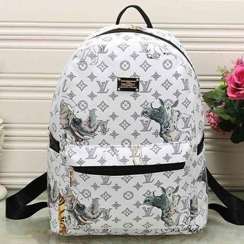 LMFON LV Louis Vuitton Cute Pattern Leather Travel Bag Backpack