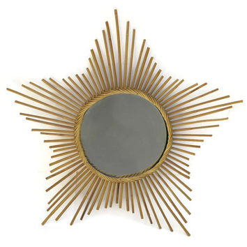Large Star Mirror. Starburst Mirror. Mid Century Home Decor Wall Mirror. Round Mirror. Bamboo Mirror.