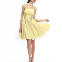 COCOMELODY Women's A Line Short Mini Strapless Lace Up Beaded Bridesmaid Dress