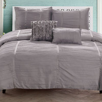 "Maya Queen Size Five Piece Crushed Sateen Comforter Set (90"" x 92"") - Silver"
