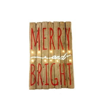 Barn Wood Lit Merry and Bright Wooden Sign, Winter, LED lights, Christmas Decor, Holiday Inspirations, Country, cottage, Reclaimed, Recycled