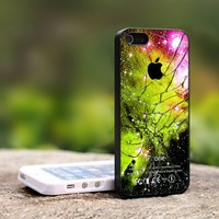 Galaxy Nebula Cracked Glass-For iPhone 5 Black Case Cover