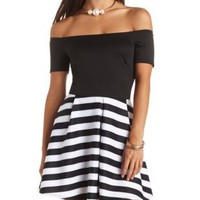 Striped Off-the-Shoulder Skater Dress - Black/White