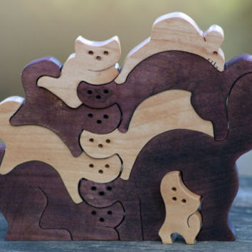 wooden puzzle scroll saw cut cat and mouse Free Shipping