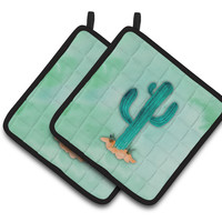 Western Cactus Watercolor Pair of Pot Holders BB7369PTHD