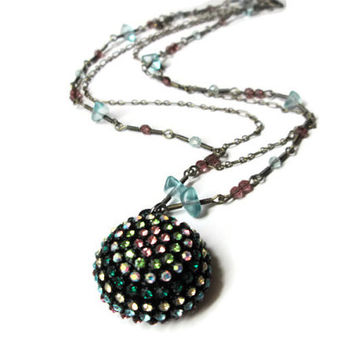 """Rhinestone Half Sphere Necklace, Geometric Jewelry, Firework Inspired, Colorful, 20"""" Matching Double Chain"""