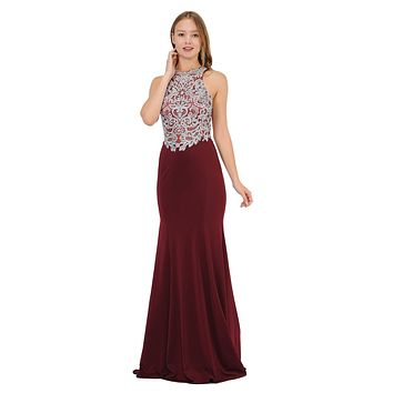 Burgundy Mermaid Long Prom Dress with Lace Appliques