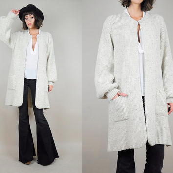 Oatmeal OVERSIZED minimalist 80's long sweater CARDIGAN draped Grandpa cozy duster Baggy jumper OS