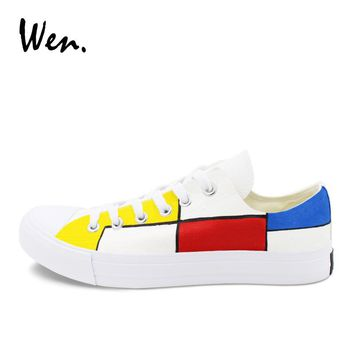 Wen Classic Low Top Skateboarding Shoes Design Colorful Plaids Mondrian Hand Painted Canvas Sneakers Men Women Plimsoll Trainers
