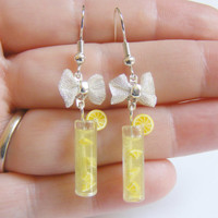 Lemonade Miniature Food Earrings - Miniature Food Jewelry,Mini Food Jewelry