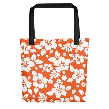 Hawaiian Tropical Hibiscus Orange and White Pattern Tote bag