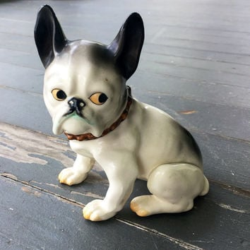 Boston terrier, vintage ceramic dog figurine