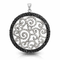 Bling Jewelry Black Swirl Pendant