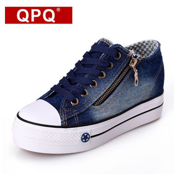 QPQ Free Shipping 2017 New Canvas Shoes Fashion Leisure Women Shoes Female Casual Shoes Jeans Blue 35-40