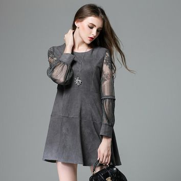 Plus Size Suede Dress Women Style Lace Sleeve Tunics Spliced Flared A Mini Dresses Grey Blue Plus Size xl-4xl,5xl