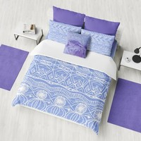 Periwinkle Duvet Cover or comforter -  Hand drawn design, unique, pattern bedding