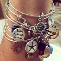 Alex Ani Style Custom Adjustable Bracelet. You Personalize the Picture charm, Metal Charm and Glass Beads.