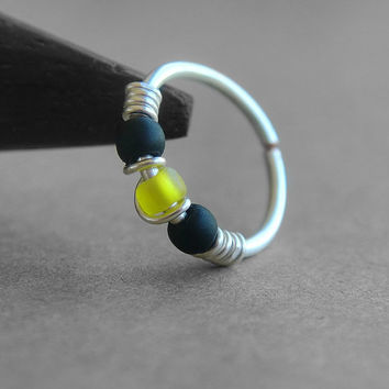 Bumblebee, 20g Nose Ring, One Hoop, Cartilage Hoop Earring, Sterling Silver, Titanium or Niobium Hoop, Yellow and Black