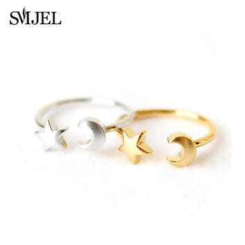 New Fashion Midi Crescent Moon and Tiny Star Open Rings for Women